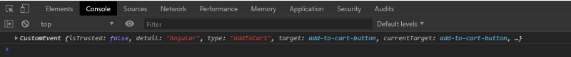 console log with custom event