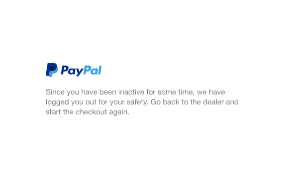 "Screenshot of PayPal's ""We have logged you our for your safety """